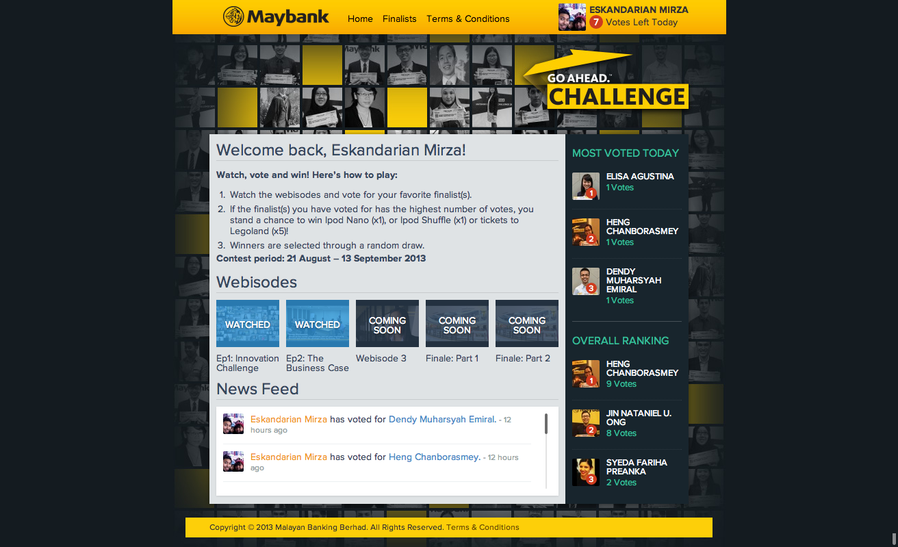 Maybank GO Ahead. Challenge 2013  dashboard