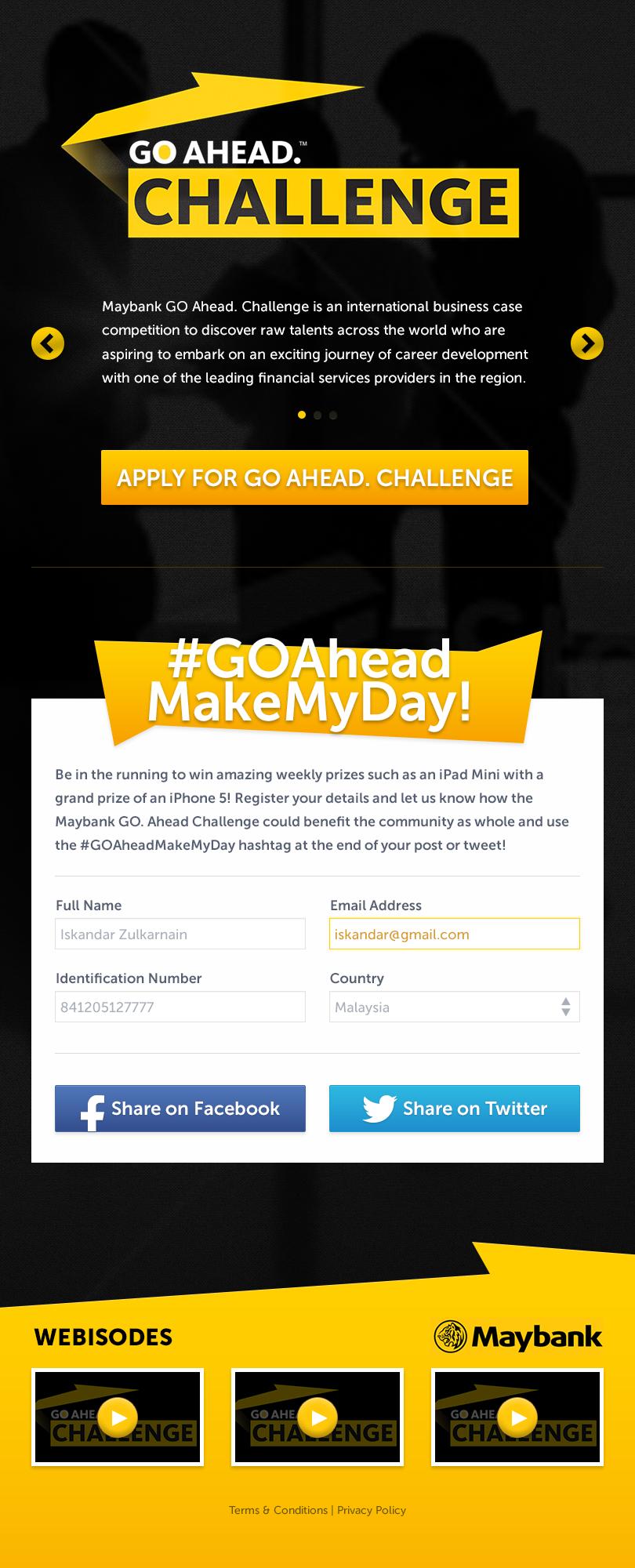 Maybank GO Ahead. Challenge 2013 - register